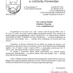 Pismo w którym Wicestarosta mgr Jarosław Kogut żąda sprostowania artykułu.