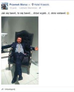 Radny Moroz Przemysław , członek Komisji Kultury. fot - FB